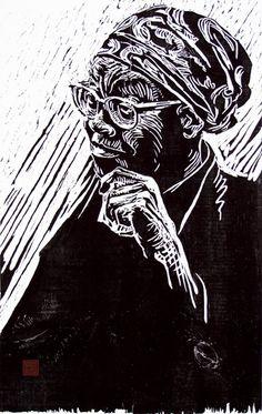 ✽  portrait of gwendolyn brooks'  -  by german born printmaker dirk hagner  -  woodcut