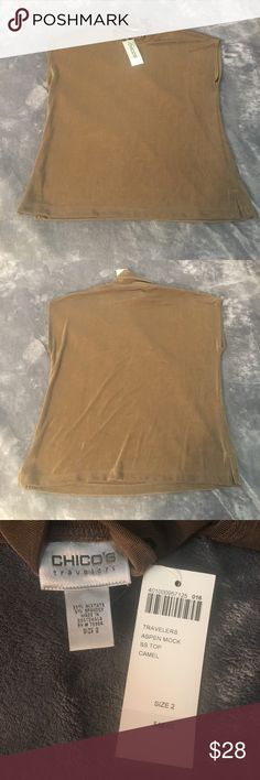 Chicos brown sleeveless turtleneck. NWT Chicos travelers aspen mock aspen ss top in camel. Size 2 $48 originally. Chico's Tops