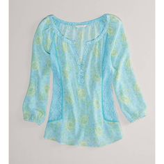 Ae Printed Chiffon Blouse ($40) ❤ liked on Polyvore
