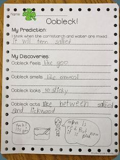Oobleck recording sheet - Learn about Solids, Liquids & Gases | Lucky to Be in First