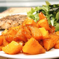 Brown sugar glazed butternut squash! This was delicious. someone also added 2 tablespoons maple syrup to the mix.