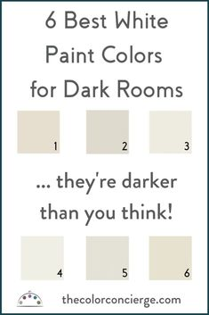 living room paint color ideas We love white paint colors, but they look dreary in dark rooms. This post shares our 6 favorite whites for dark rooms and how to use them. Off White Paint Colors, Top Paint Colors, Basement Paint Colors, Basement Painting, Greige Paint Colors, Off White Paints, Best White Paint, Kitchen Paint Colors, Paint Colors For Living Room
