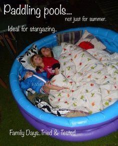 star gazing in kiddie pool