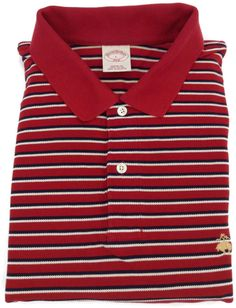 Brooks Brothers Polo Shirt Large Mens Short Sleeve Golf Striped Red Size Sz L #BrooksBrothers #PoloRugby