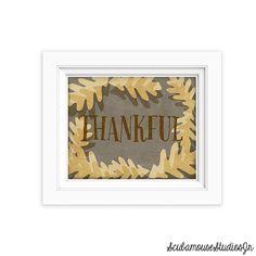 Thankful Printable Autumn Leaf Print by ScubamouseStudiosJr