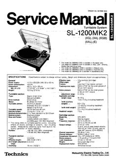 Technics SL-1210 mk2 Turntable , Service Manual  * PDF format suitable for all Windows , Linux DOWNLOAD