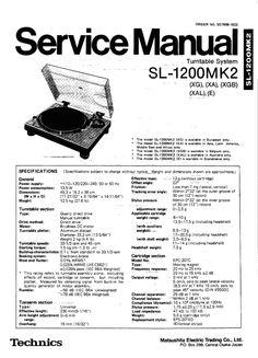 Technics SL-MA1 Turntable , Service Manual * PDF format