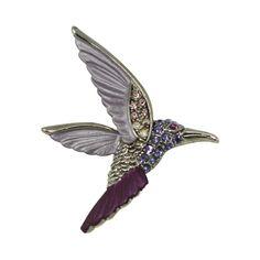 Hummingbird Lilac Enamel and Swarovski Crystal Silver Tone Bird Brooch