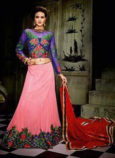 Salmon Color Pretty A Line Lehenga Choli Online ,Indian Dresses - 1