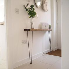 Narrow console table with hairpin legs, wooden rustic hallway table. These rustic, chunky, wooden, narrow console tables are perfect for narrower hallways and landings with a depth of between and and Rustic Hallway Table, Rustic Console Tables, Narrow Console Table, Entryway Tables, Rustic Table, Diy Table, Hallway Console Table, Narrow Hallway Table, Hallway Shelf