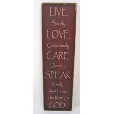 "Messenger Sign ""Live Simply"" Country Rustic Primitive Burgundy $21.99"