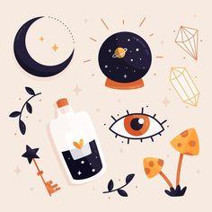 Astrological Elements, Illustration Art, Illustrations, Witch Aesthetic, Magic Art, Cute Drawings, Sticker Design, Bunt, Cute Art