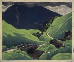 ein-bleistift-und-radiergummi:  Ian Cheyne (1895 - 1955)  'Hell's Glen' 1928. Colour Woodcut on Paper.