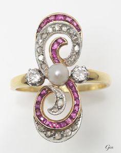 Natural pearl, ruby and diamond ring, ca. 1910