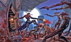 "Illustration of Jericho Cross, vampiric hunter of the undead, battling some zombies, from the western-themed ""Darkwatch,"" released by Capcom / High Moon Studios for the Xbox and PlayStation 2 in 2005"