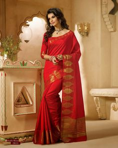 #Red Zari #silk #saree with blouse. Look #Beautiful ! - http://bit.ly/1PTHjo8