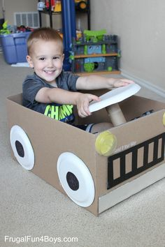 Cardboard Box Car - With a steering wheel that turns!