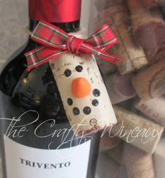Choose your color! Wine Cork Snowman Christmas Ornaments, Wine Bottle Gift Tags, Snowman Ornament, F Wine Cork Ornaments, Wine Cork Crafts, Bottle Crafts, Wine Bottle Charms, Wine Bottle Gift, Wine Bottles, Snowman Christmas Ornaments, Christmas Decorations, Christmas Wine