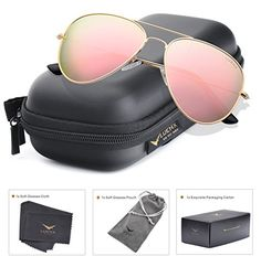 bc1a2ce2b196f LUENX Aviator Womens Sunglasses Polarized Pink Mirrored lenses Gold Frame  UV 400 Protection Fashion Style  gt