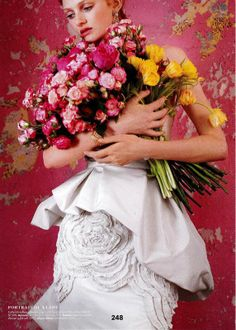 """Floral embroidery on our """"Lexington"""" gown in @BRIDES magazine #weddings"""