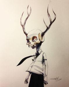 #ink #inktober #inktober2016 #drawing #KurtChangArt #art #illustration #lighting #skull #kid #surrealart