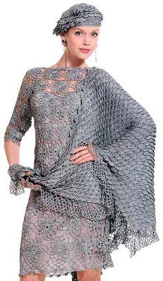 Vestido de noche, boina y chal en crochet. Con esquemas.
