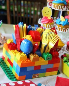 Lego party silverware holder