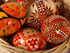 These Ukrainian Easter eggs have been decorated and dyed according to a centuries-long tradition that has its roots in pre-Christian Eastern Europe. The designs on Ukrainian eggs celebrate spring, stand for protection, symbolize fertility, honor nature, and ensure good fortune.