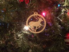 "Wooden Deer Cutout Christmas Ornament, 4"" tall by 2"" 11/16 and 1/4"" thick by ShelbyLaser on Etsy"