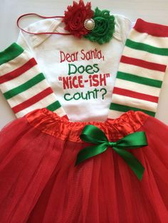 Girl's Christmas Skirt Outfit | 'Santa Baby' Top with Christmas ...