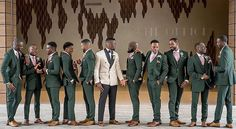 Green Pink & Creme Groom and Groomsmen Tuxes(Photo by Repost from Green Wedding Suit, Tuxedo Wedding, Purple Wedding, Wedding Suits, Wedding Attire, Dream Wedding, Gothic Wedding, Olive Green Weddings, Emerald Green Weddings