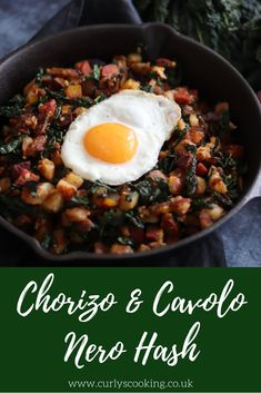 This Chorizo & Cavolo Nero Hash has quickly become a favourite and regular recipe in my house! It is so delicious and perfect at anytime of day. Whole30 Dinner Recipes, Brunch Recipes, Easy Dinner Recipes, Appetizer Recipes, Vegetable Dishes, Vegetable Recipes, Chorizo And Potato, Chorizo Recipes, Midweek Meals