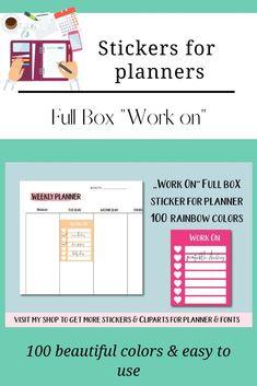 Work Planner Stickers, Work Box Stickers Work Planner, Weekly Planner, Happy Planner, Printable Stickers, Printable Planner, Planner Stickers, Planner Supplies, Erin Condren Life Planner, Logo Background