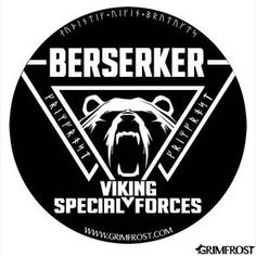 "Round sticker with the print: ""Berserker, Viking Special Forces"", a Valknut tripple-triangle and a roaring bear. The Valknut is a symbol of Odin, the god of the Berserker. The bear represents the state of mind of the raging Berserker. 3M gray back vinyl sticker Size: 10 x 10 cm (4x4"") Matte surface Production and copyrighted design by Grimfrost"
