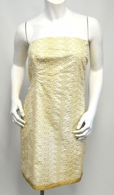 BANANA REPUBLIC Ivory & Gold Strapless Holiday Cocktail Dress Embroidered Size 6 #BananaRepublic #Sheath #Cocktail #strapless #embroidered #datenight #valentinesday