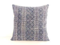 Batik-Hemp Cushion Cover, Hmong Hill Tribe Stripes/Indigo Enchanted Hills/ 2-Side Throw Pillow Case, Tribal Print Hmong Ethnic Pillow Cover