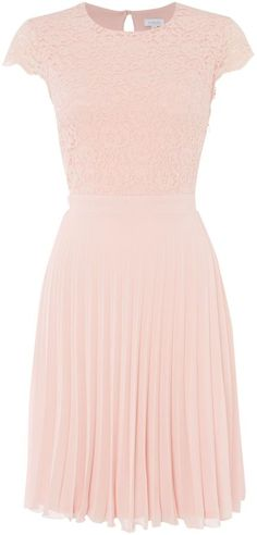 pink Untold Lace Top pleated skirt dress