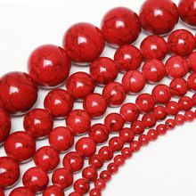 4mm 6mm 8mm 10mm 12mm 14mm 16mm Pick Size Natural Round Loose Spacer Red Turquoise Stone Beads For Necklace Bracelet Y451(China (Mainland))