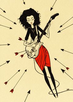 """St. Vincent"" by Julian Callos  Ink on paper mounted on wood panel  5"" x 7"""
