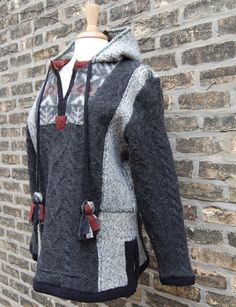 Snowlight Hoodie Pullover, womens large sweater tunic, gray, black, red, recycled felted wool and fair isle with tassels. $328.00, via Etsy.