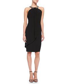 Beaded Halter Cocktail Dress, Women\'s by Carmen Marc Valvo Women\'s at Bergdorf Goodman.
