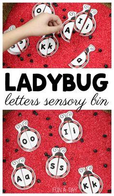 Use printable ladybug letter puzzles in a simple ladybug sensory invitation activities Summer Preschool Activities, Insect Activities, Preschool Themes, Preschool Printables, Preschool Lessons, Alphabet Activities, Sensory Activities, Learning Activities, April Preschool
