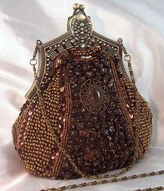 Brown Vintage Look Evening Bag Bead Sequin Rhinestone Bestaybeautiful Beaded Bags Clutch
