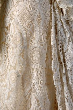 The HoopSkirt Society — Detail of duchesse lace on a tea gown, American,. Antique Lace, Vintage Lace, Tea Gown, Hoop Skirt, Embroidery Transfers, Embroidery Designs, Linens And Lace, Lace Doilies, Lace Ribbon