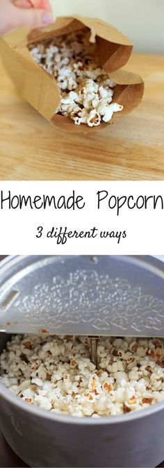 How to make homemade popcorn, 3 different ways. No need to buy store-bought popcorn bags when it's so easy to make healthy preservative-free popcorn at home!