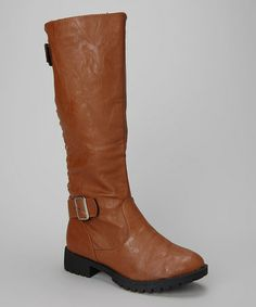 Take a look at this Cognac Twin Buckle Boot by Carrini on #zulily today!