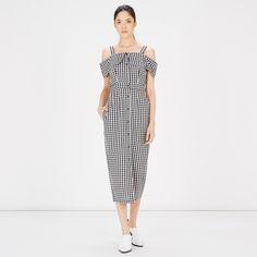 Warehouse, Gingham Off Shoulder Dress Black Pattern 2