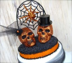 Unique Halloween Wedding Cake Toppers | Skull Cake Topper , Halloween Wedding , OOAK, Black and Orange Wedding