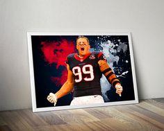 JJ Watt  Houston Texans Poster JJ Watt print JJ by TroutLifeStudio
