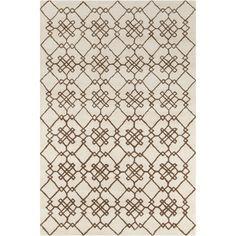 Allie Handmade Geometric Cream Wool Rug (5' x 7'6)